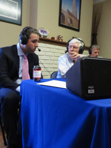 Dr. Landers on the air with WCLV's Bob Conrad during a remote broadcast at Hanson Services